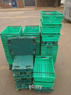 100 x Bail Arm Crates 600 x 400 x 200mm & 10 Sets Of dolly wheels