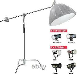 3x Professional Heavy Duty Studio C-Stand with Gobo Arm Grip Heads Century Stand
