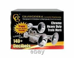 Grand General 69991 Chrome Heavy Duty Train Horn with Triple Brass Trumpet fo