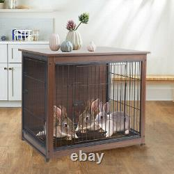 Heavy Duty Wooden Dog Kennel Metal Crate Pet Cage House & Tray Indoor End Table