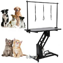 Large Pet Cat Dog Grooming Trimming Table Hydraulic Z-Lift Steel Adjustable Arms