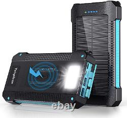 Solar Power Bank 30000 mAh Wireless Portable Fast Charger iOS Android LED Light