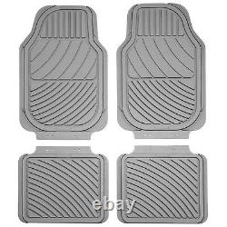 Sumex Universal Heavy Duty Durable Thick Set of 4 Rubber Car Floor Mats Grey