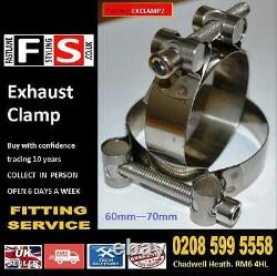 Universal heavy duty Exhaust Clamp t304 Stainless Steel Clip 60mm-70mm